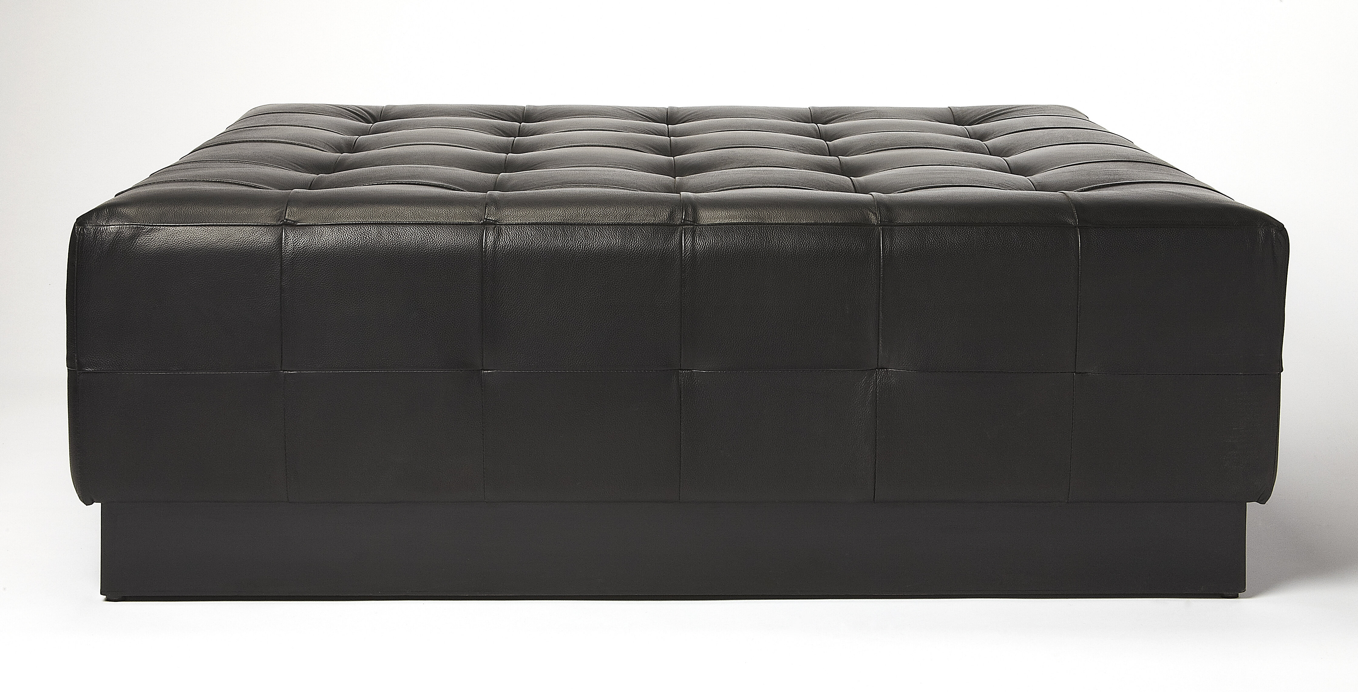 Black Leather Tufted Ottoman Wayfair
