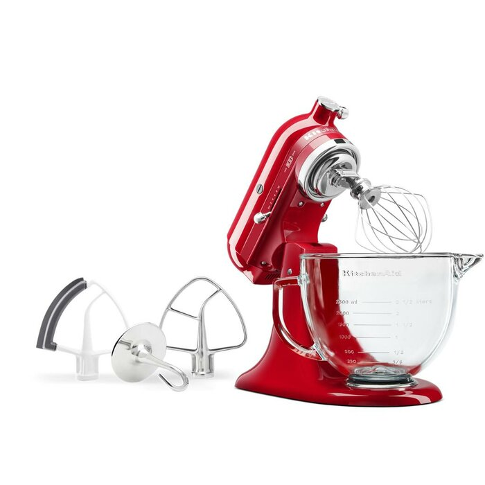 Kitchenaid Queen Of Hearts 10 Speed 5 Qt Stand Mixer With Glass Bowl Ksm180