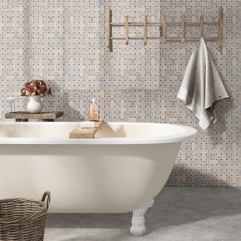 Angora Basketweave Marble Mosaic Tile In Beige/Brown