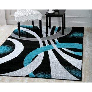 Aldridge Modern Abstract Black Turquoise Area Rug