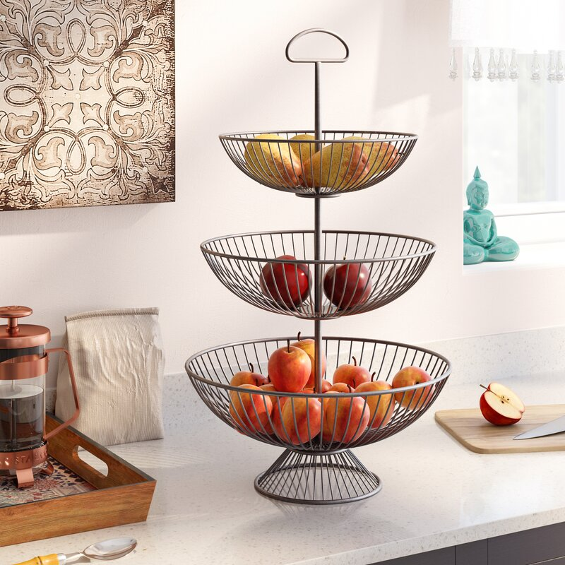 Refugio Three Tier Decorative Wire Basket Stand