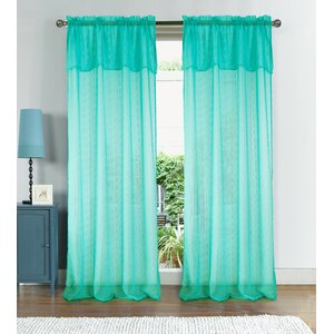 Anise Textured Solid Sheer Rod Pocket Single Curtain Panel
