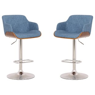 Aylesworth Adjustable Height Swivel Bar Stool (Set of 2)