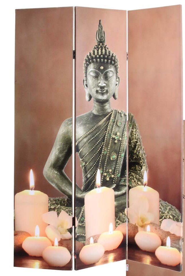 World Menagerie Buddha Bequal 3 Panel Room Divider Wayfaircouk