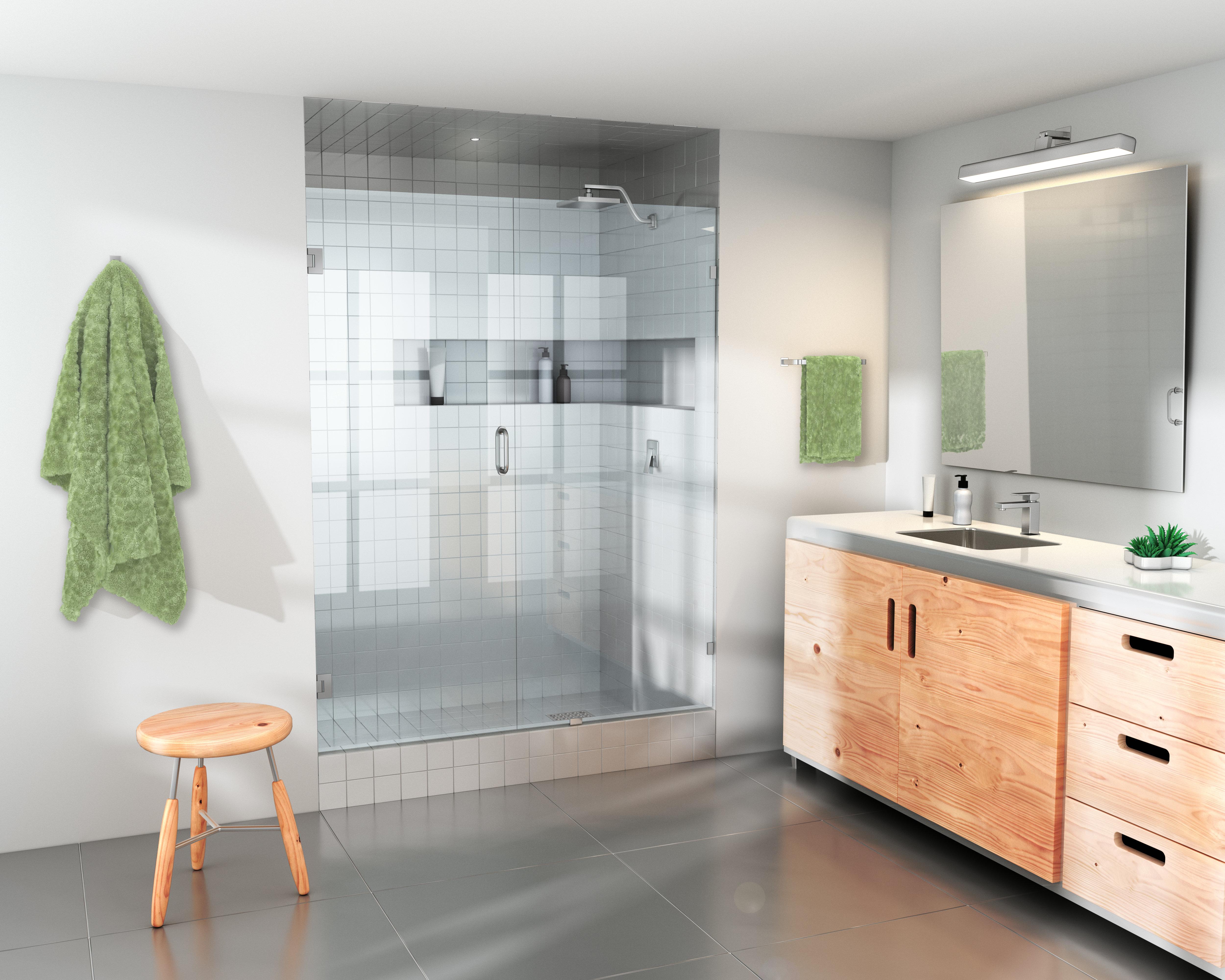 Glass Warehouse 335 X 78 Hinged Frameless Shower Door Wayfair