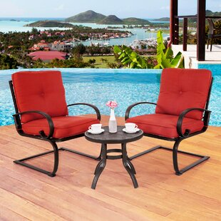 Courtois Outdoor 3 Piece Conversation Set With Cushions