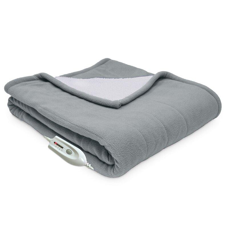Serta Sherpa Reversible Electric Heated Throw Blanket Reviews Wayfair