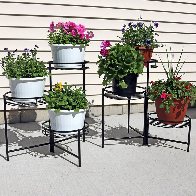outdoor plant stands sunnydaze decor 3 tiered indoor outdoor plant stand set 11136