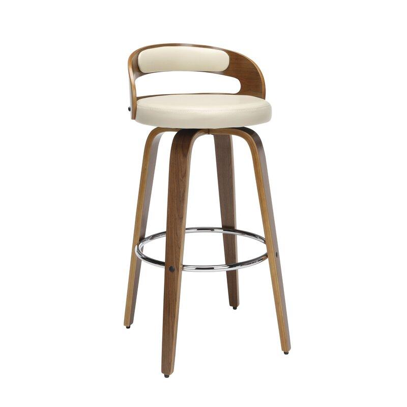 Marvelous Labelle Mid Century Modern Low Back Bentwood Frame 30 Swivel Bar Stool Dailytribune Chair Design For Home Dailytribuneorg