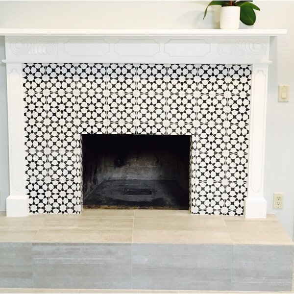 "Black And White Bedroom Wall Designs Bedroom Ottoman Bench New Bedroom Sets Bedroom Wall Decor Ideas Tumblr: Medina 8"" X 8"" Handmade Cement Tile In Black/White"