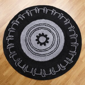 Teyo's Tires Round Black/Grey Area Rug
