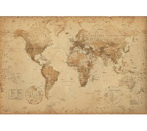 World map wall art world map antique graphic art print poster gumiabroncs Images