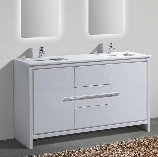 "Bosley 59"" Double Sink Modern Bathroom Vanity Set"