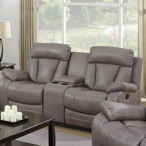 Leanne Leather Reclining Sofa by Latitude Run