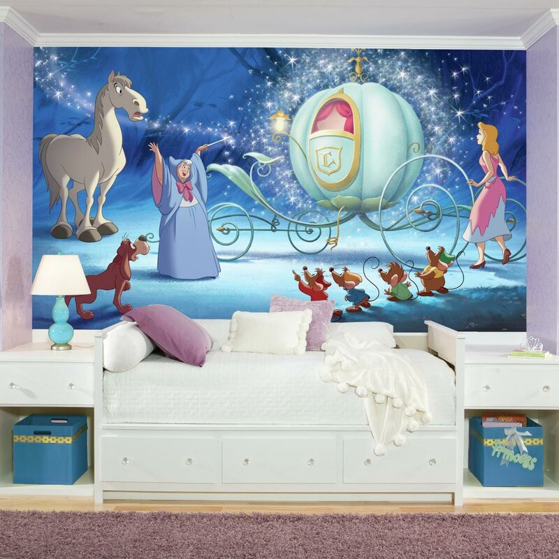 Disney Princess Cinderella Carriage Chair Rail Prepasted Wall Mural