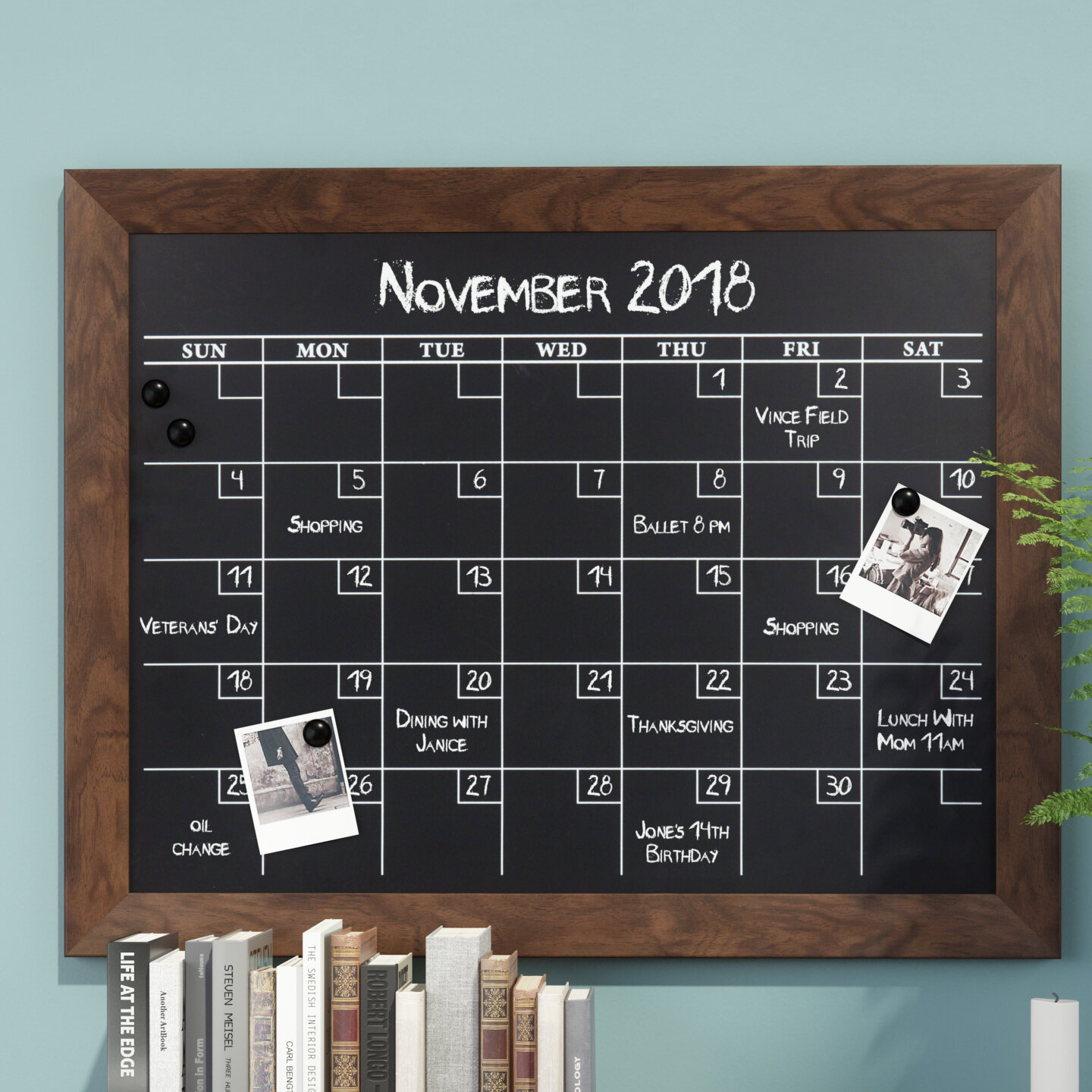 Union Rustic Framed Monthly Calendar Magnetic Wall Mounted ...