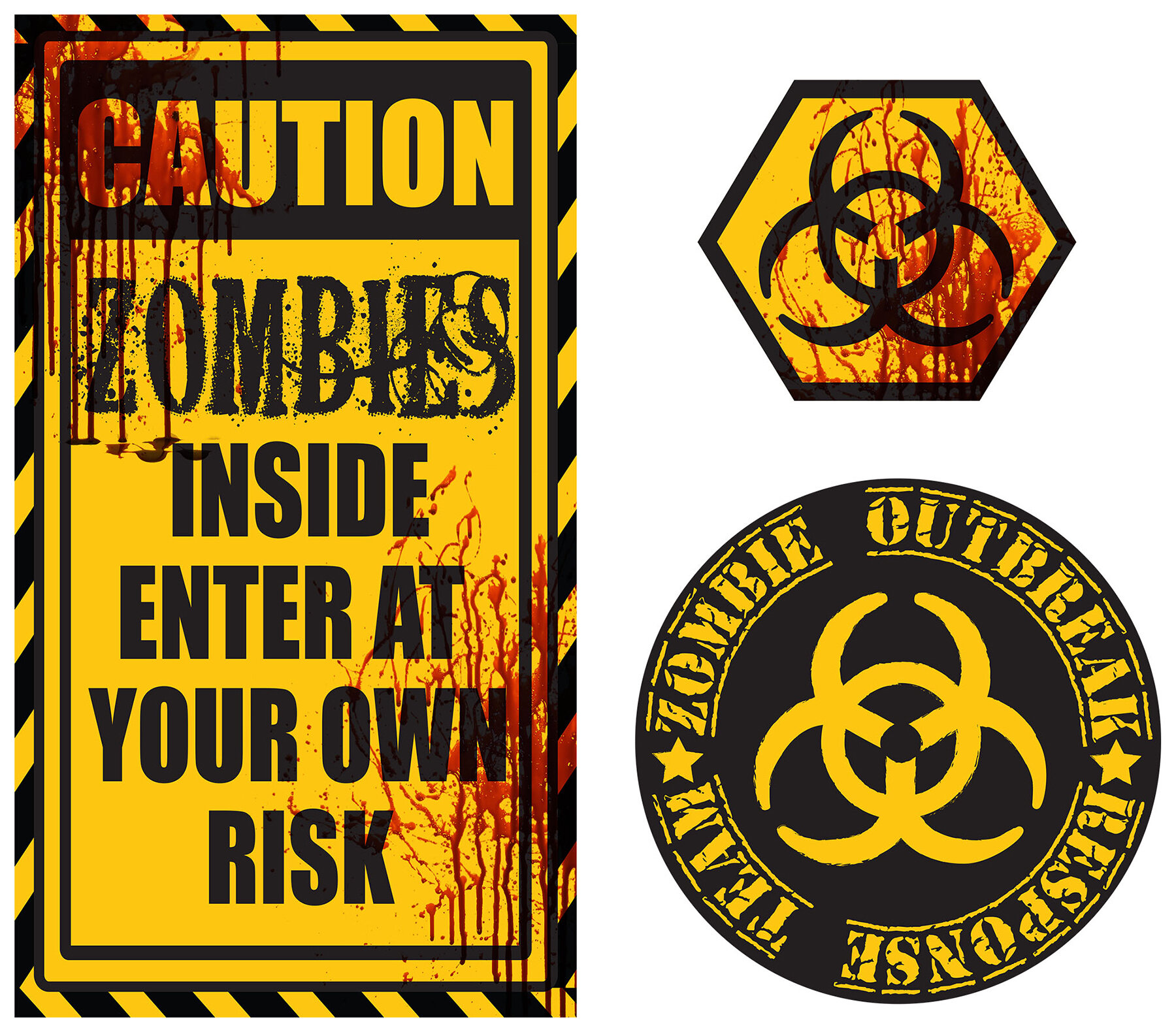 WallPops! 3 Piece Caution Zombies Quote Wall Decal Set | Wayfair
