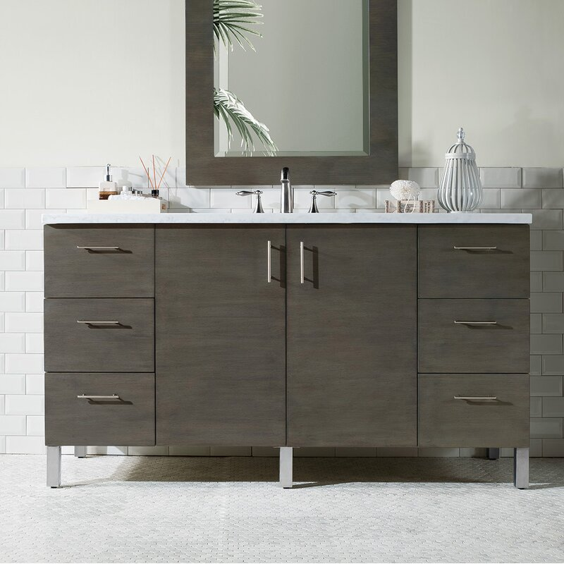 "Cordie 60"" Single Silver Oak Wood Base Bathroom Vanity Set"