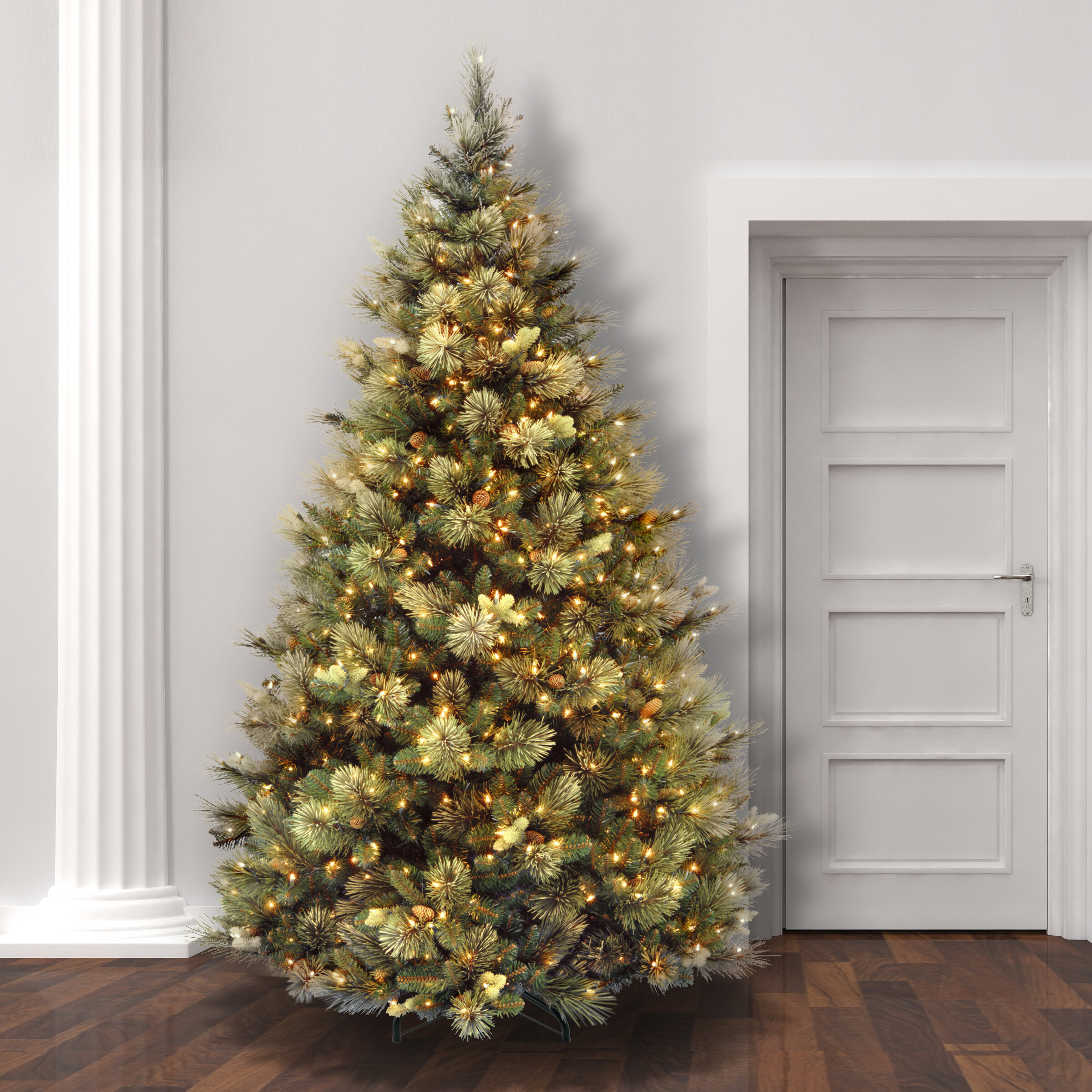 laurel foundry modern farmhouse green pine trees artificial christmas tree with clearwhite lights reviews wayfair - Photos Of Christmas Trees