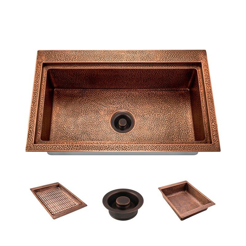 Mrdirect Copper 31 L X 20 W Drop In Kitchen Sink With Drain