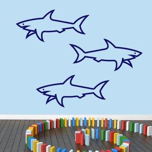 3 Piece Sharks Wall Decal Set
