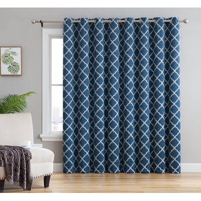 Kuhlmann Embroidered Energy Efficient Patio Door Geometric Blackout Thermal Grommet Single Curtain Panel