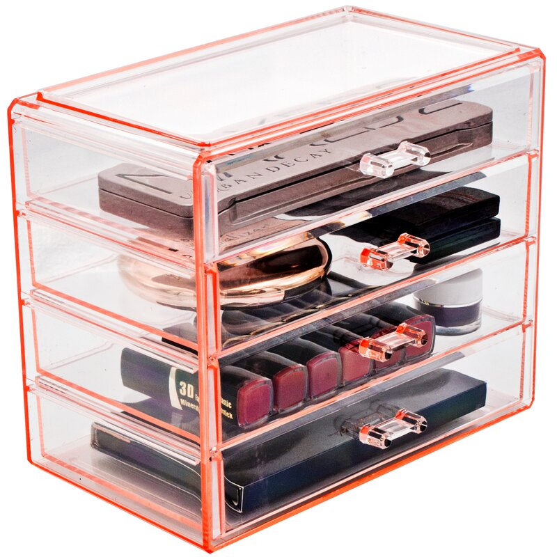 Evins Jewelry Storage Case Display 4 Large Drawers Pink