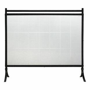 Clear glass fireplace screen wayfair tate single panel glassiron fireplace screen teraionfo