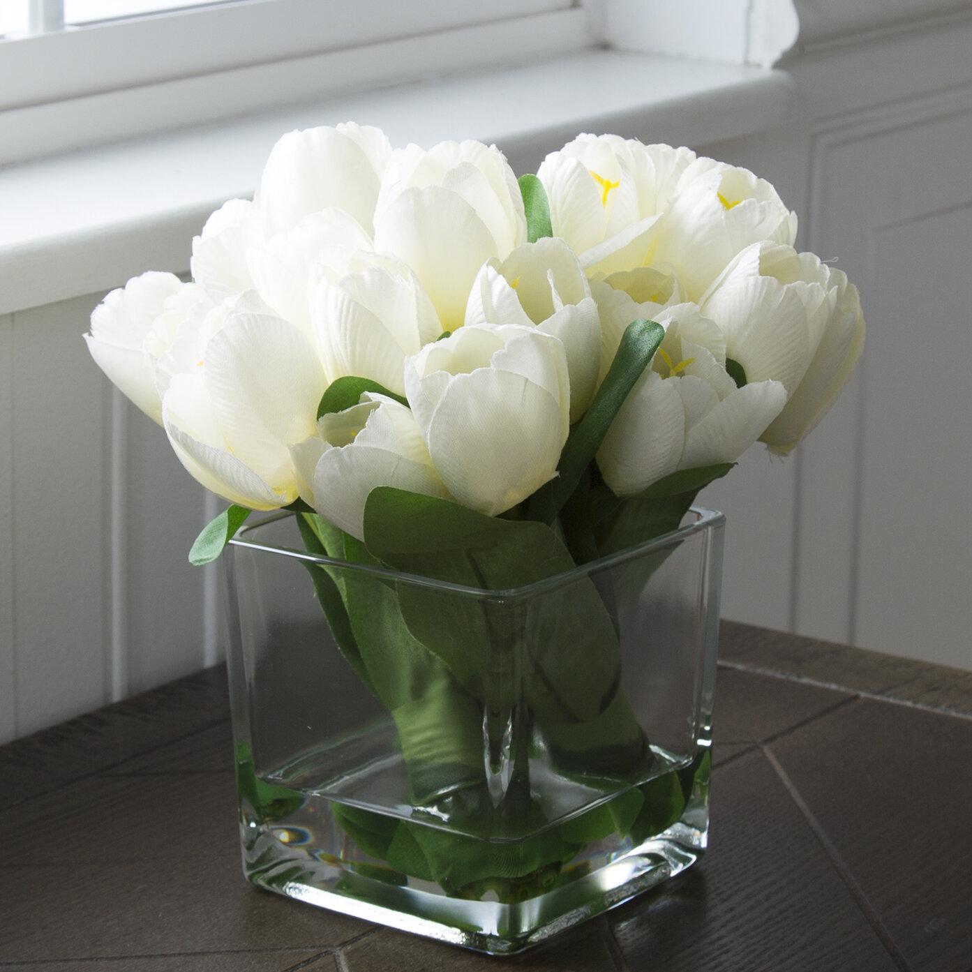 Wayfair & Tulip Floral Arrangement in Glass Vase