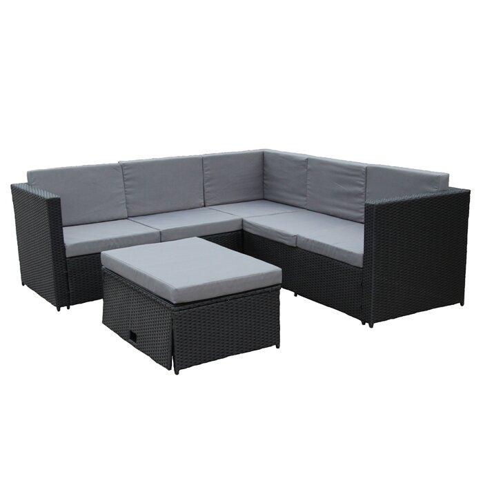 Wrought Studio Aleko Rattan Wicker 4 Piece Indoor Outdoor Patio Furniture Sofa Set With Storage Footstool Dark Grey Cream Cushions Wayfair Ca