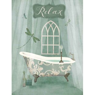 'Vintage Bathroom Inspired Relax Green Bathtub' by Beth Albert Graphic Art Print on Wrapped Canvas