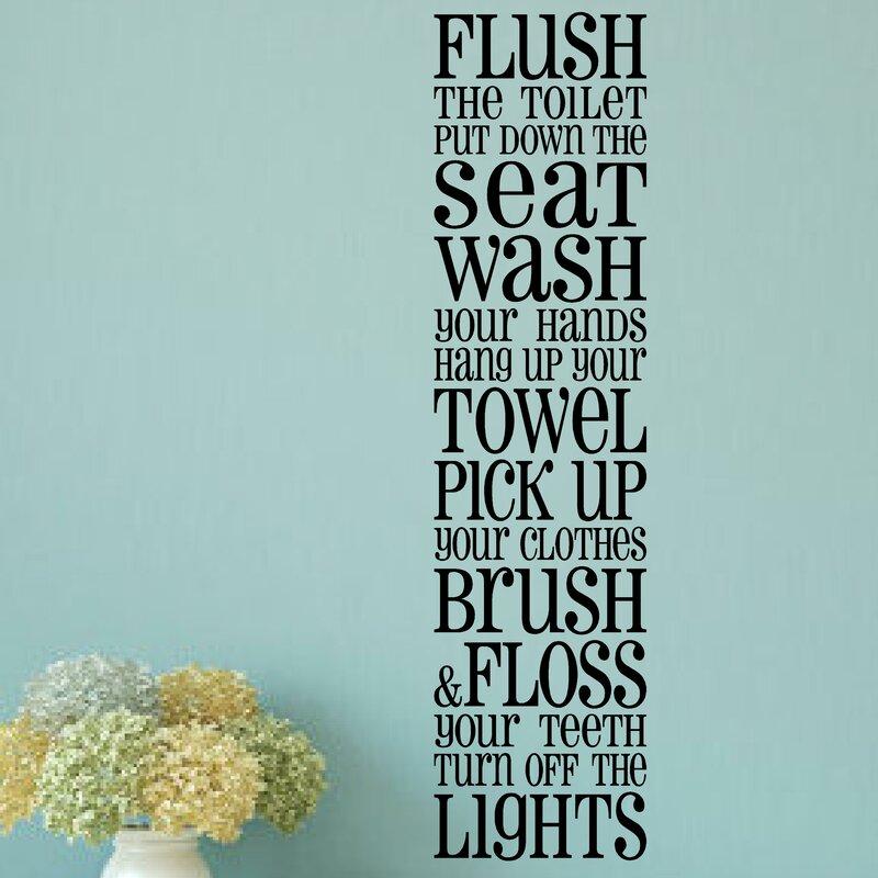 enchantingly elegant bathroom rules wall sticker & reviews | wayfair.ca