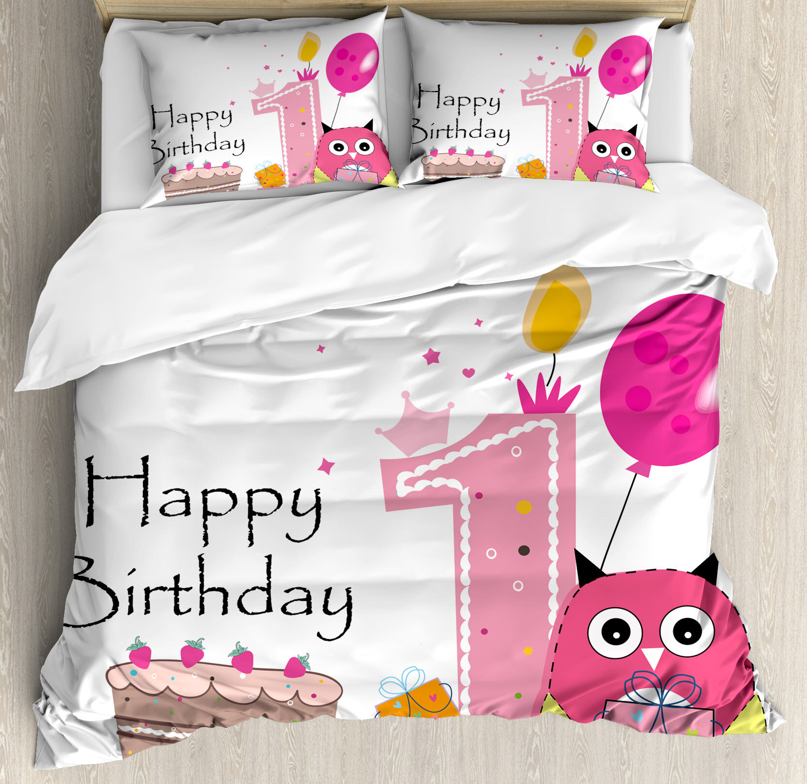 Ambesonne 1st Birthday Decorations First Cake Candle Sketchy Cartoon Owl Image Duvet Cover Set