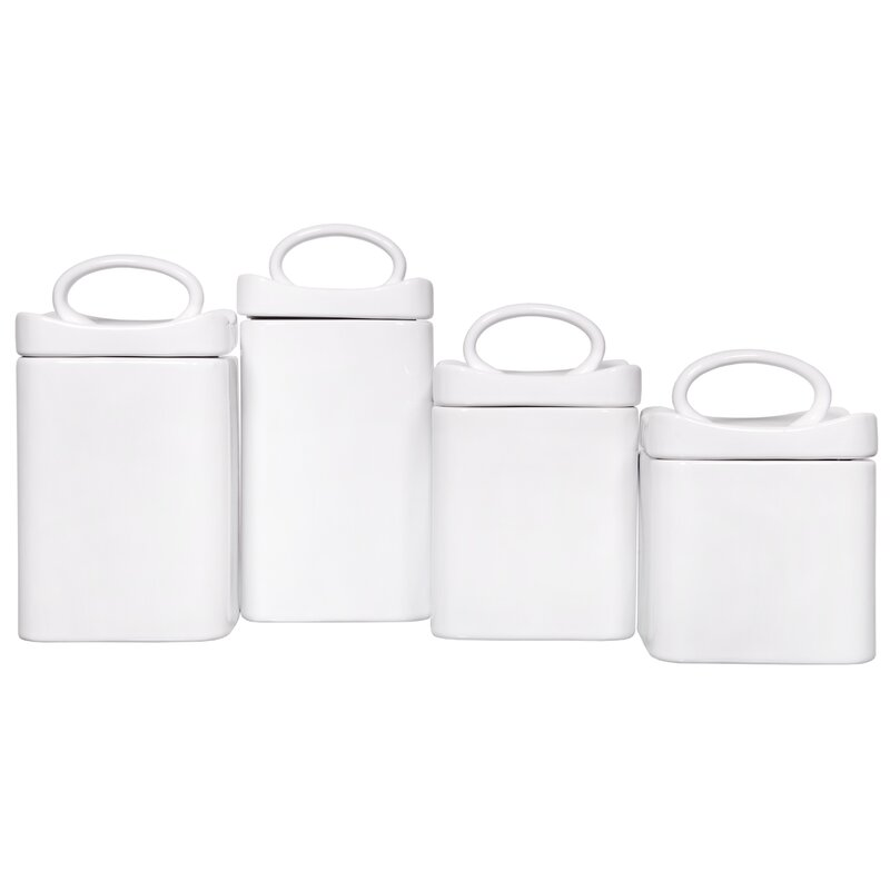 Wavy Square 4 Piece Kitchen Canister Set
