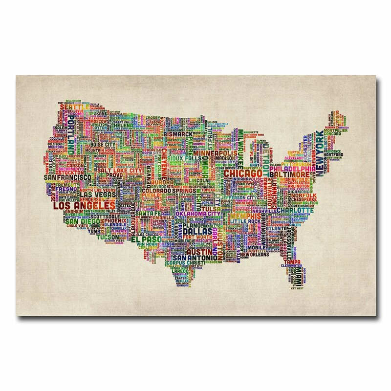 Trademark Art US Cities Text Map By Michael Tompsett Graphic Art - Us map canvas