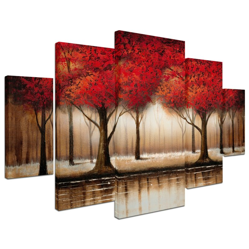 Trademark Art Parade Of Red Trees By Rio Framed 5 Piece