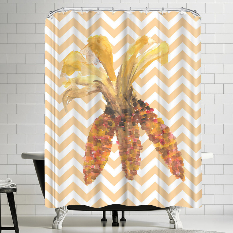 East Urban Home Jetty Printables Chevron Corn Autumn Shower Curtain ...