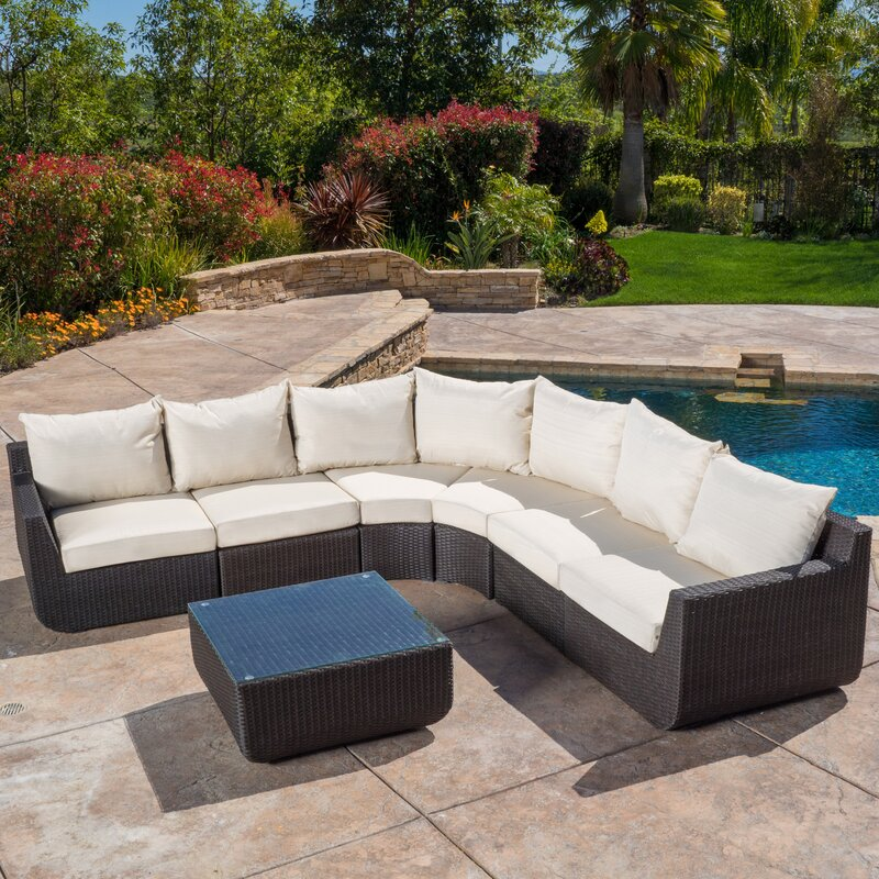 Liverman 7 Piece Outdoor Wicker Sectional Seating Group with Cushions : wicker sectional - Sectionals, Sofas & Couches