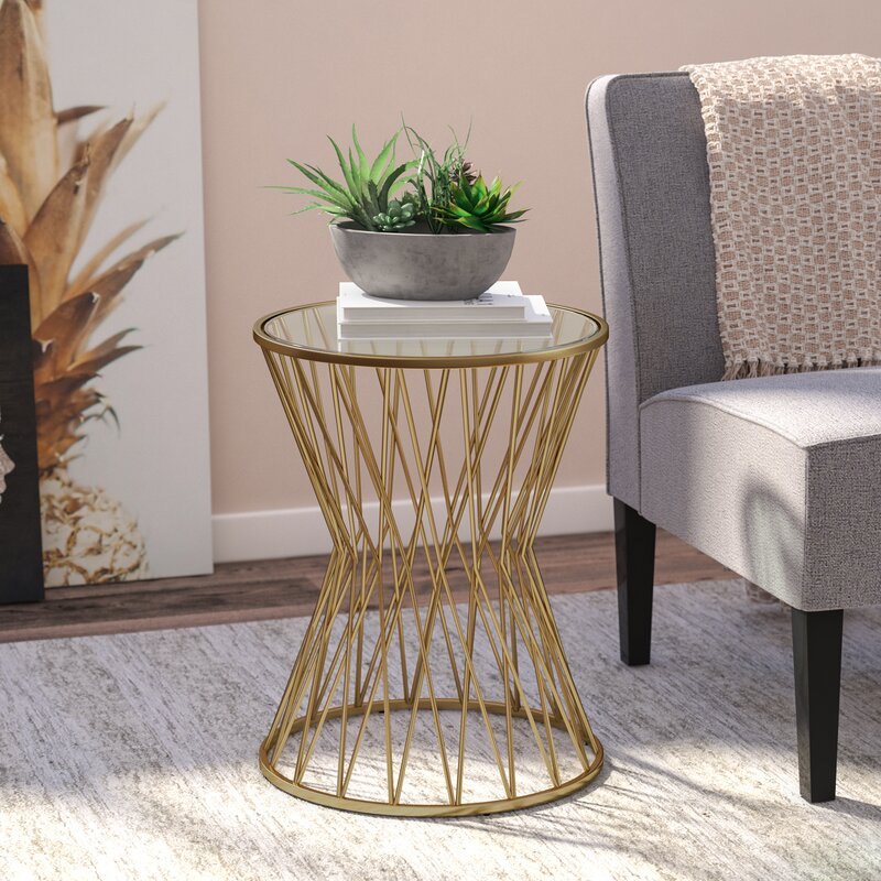 Carpendale Hourglass Metal End Table Amp Reviews Allmodern