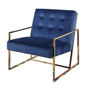 Redbridge Stainless Steel Velvet Arm Chair by Mercer41