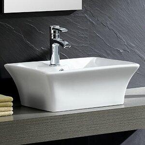 Modern Square Vessel Bathroom Sink with Overflow