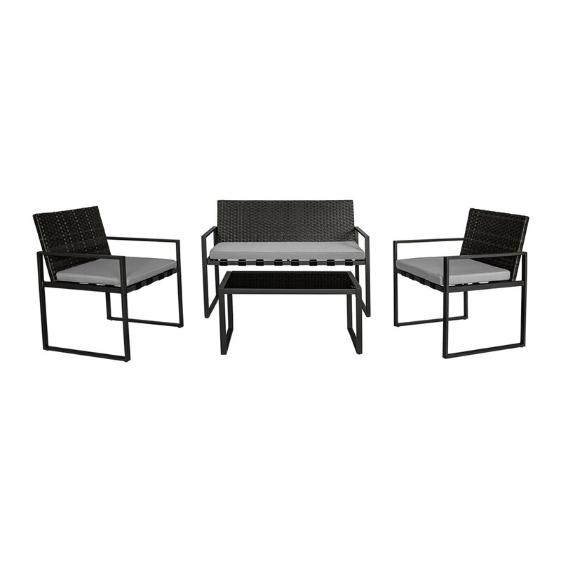 O'Kean Outdoor Conversation 4 Piece Rattan Sofa Set with Cushion