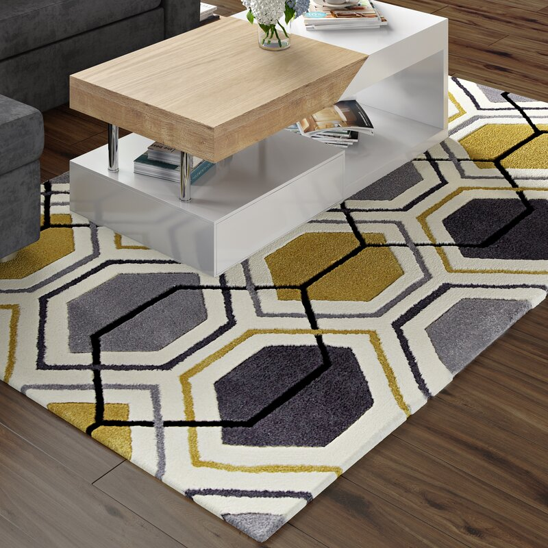 Tamarisk Hand Tufted Grey Yellow Rug