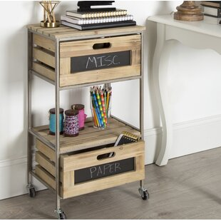 Ramsdell 2 Drawer Farmhouse Bar Cart
