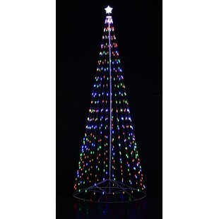 Homebrite Outdoor White LED Cone Tree with Collapsible Base and Wireless Remote with 8 Flashing Modes
