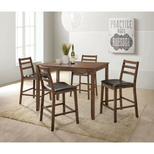 Moldenhauer Wooden Slatted Back Chairs 5 Piece Counter Height Pub Table Set