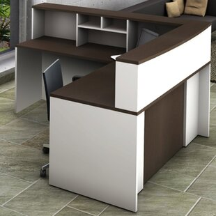 4 Piece L-Shape Reception Desk Suite Set