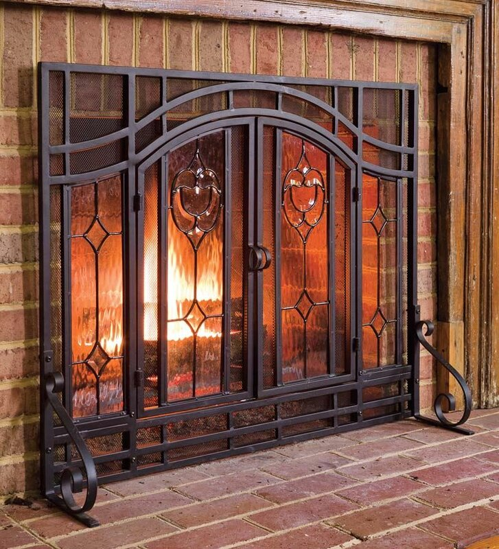 twodoor fireplace screen with glass floral panels