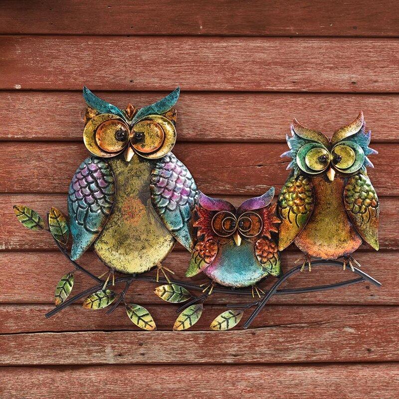 Owl Family Of Three Outdoor Wall Decor