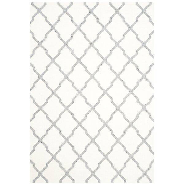 Safavieh Dhurries Hand Woven Wool Ivory Grey Area Rug
